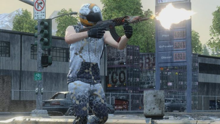 A player shoots a skull-adorned gun in H1Z1, one of the best battle royale games