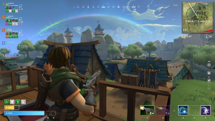 A player takes in the view from a balcony in Realm Royale, one of the best battle royale games
