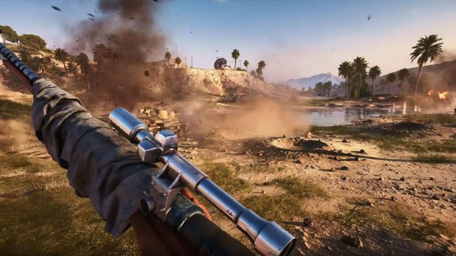 A tank stirs up dust on the battlefield in one of the best sniper games, Battlefield 5