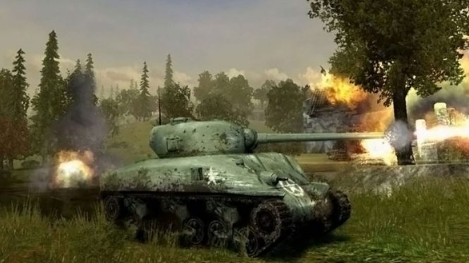 A tank mid-battle in one of the best tank games, Panzer Elite Action