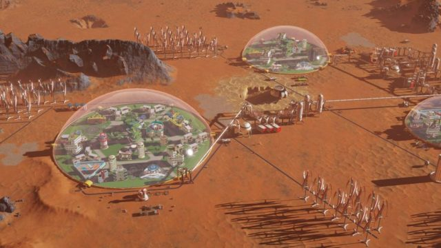 Survival city construction game on Mars