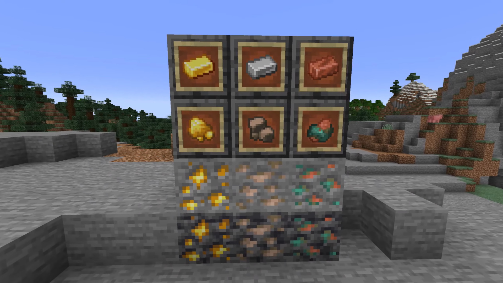 Minecraft iron, gold, copper, uncooked edge to drop the primary blocks