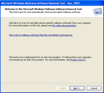 Malicious Software Removal Tool Startup Screen