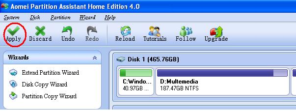 Aomei Partition Assistant Home Edition 4.0 5