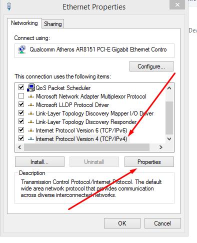 Internet Protocal version 4 (TCP/IPv4)