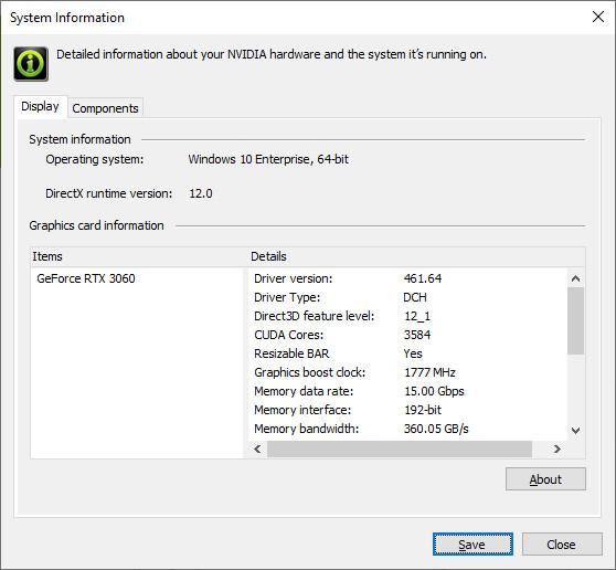 Control de barra redimensionable de Nvidia