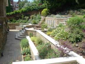 Finished dry stone effect garden walls