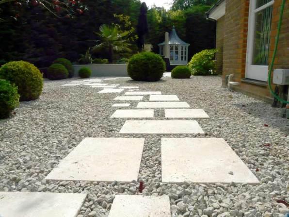Finished Travertine paving and gravel garden Berkshire