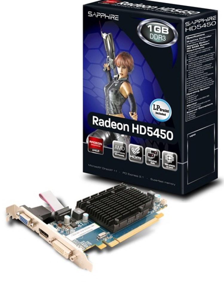 Placa video SAPPHIRE 512 MB; GDDR3; 64 bit; PCI-E 16x; AMD Radeon HD 5450; VGA; DVI; HDMI