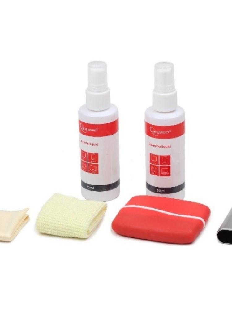 Kit curatare LCD 6-in-1 - 2 solutii curatare, 2 pensule, 2 servetel microfibra, Gembird 'CK-LCD-003'