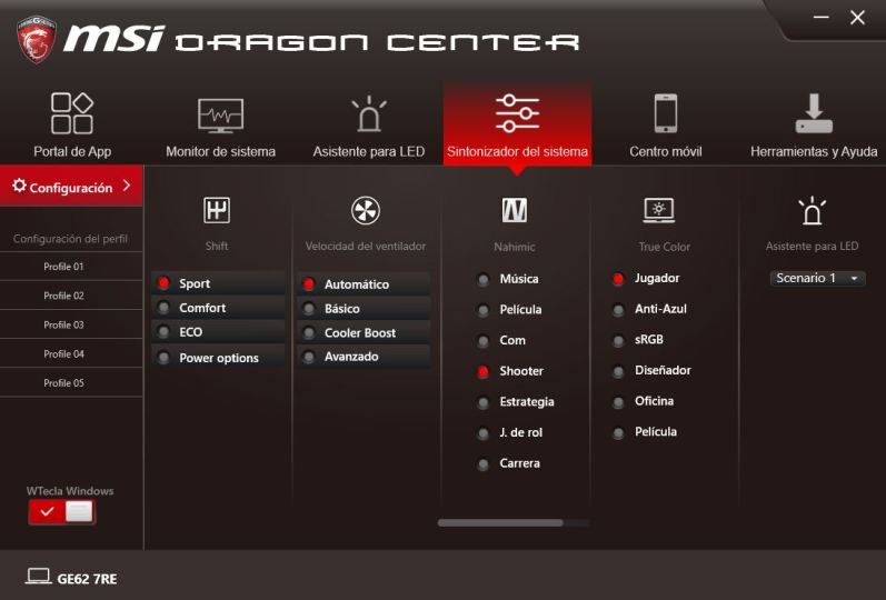MSI DRAGON CENTER GE62 7RE 4