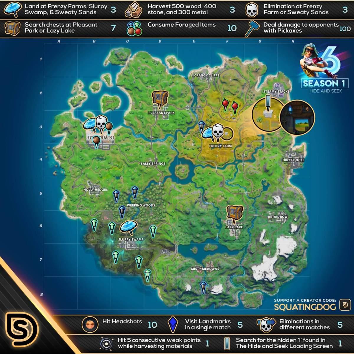 Mapa Fortnite Temporada 1.Desafios De La Semana 6 De La Temporada 1 En Fortnite