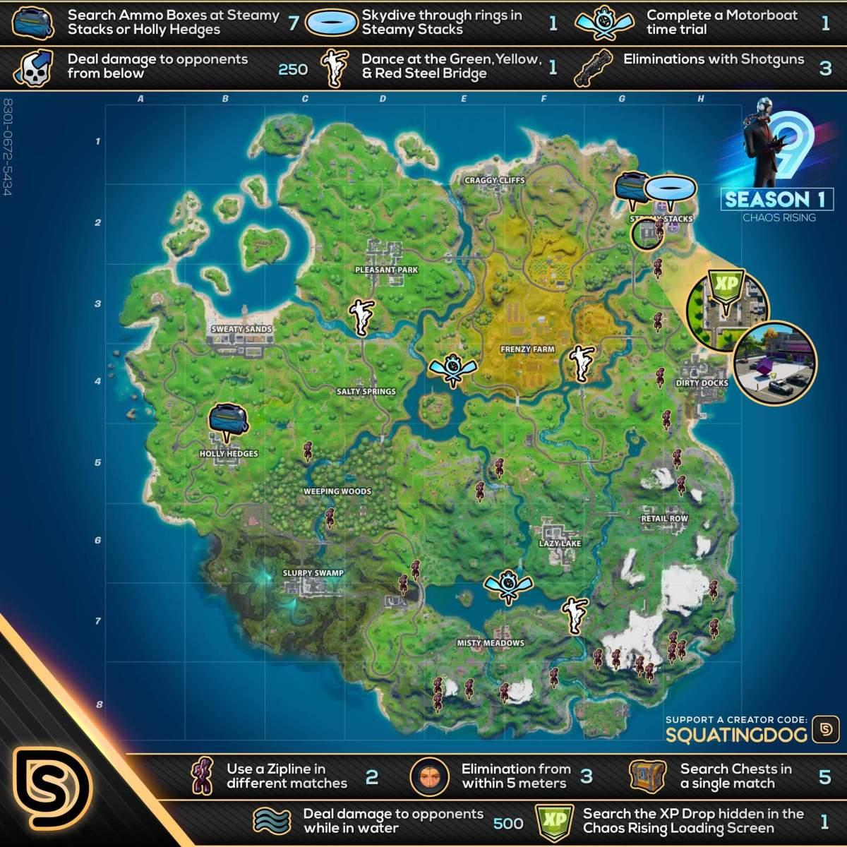 Fortnite Capitulo 2 Temporada 1 Semana 9 Mapa