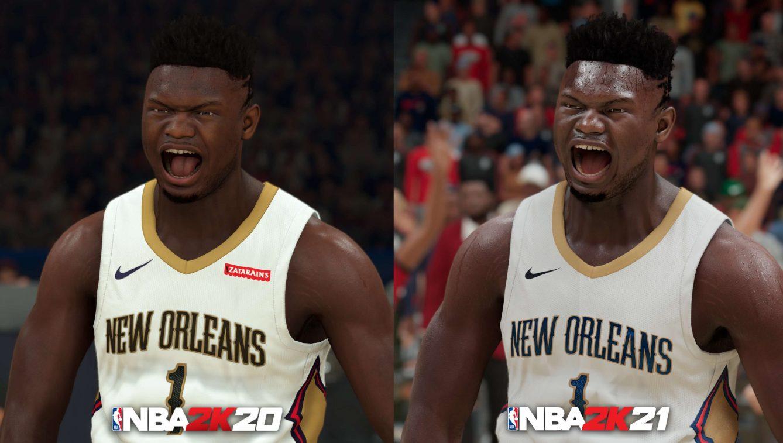 NBA 2K21 Next Gen Zion Williamson Comparison NBA 2K20 scaled