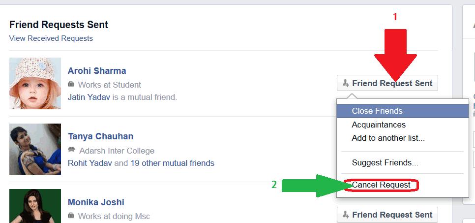 Friend Requests View Sent Facebook