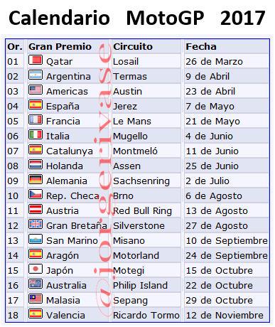 Moto Gp Calendario.Calendarios Competicion 2017