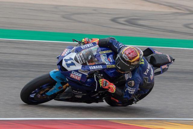 Sandro Cortese durante la prueba de Supersport en Motorland Aragón