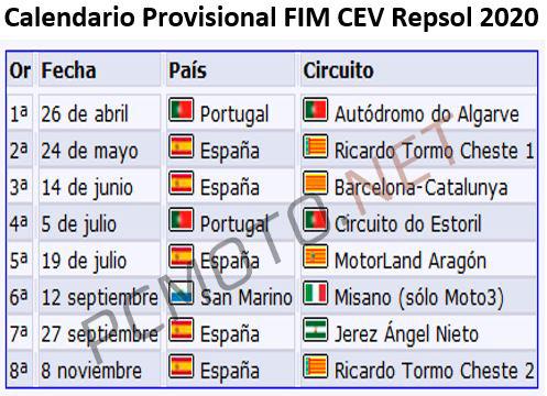 Calendario del FIM CEV 2020