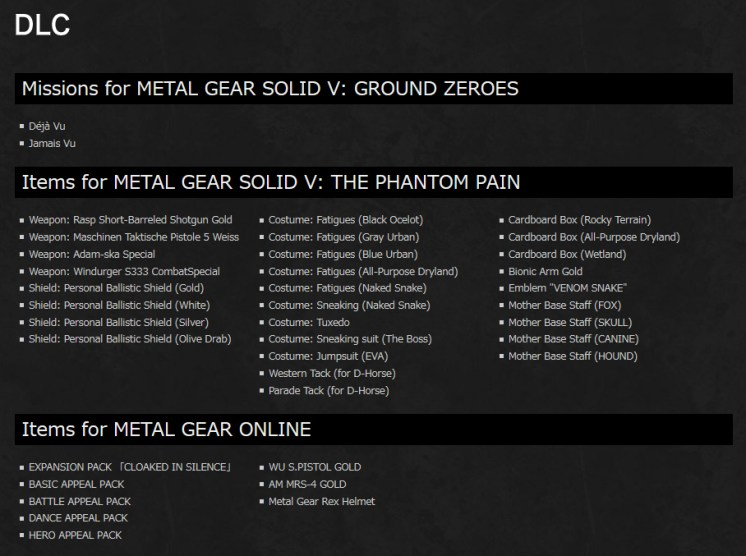 Metal Gear Solid V The Definitive Experience DLC