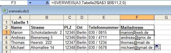 Excel: Beispiel für SVerweis mit 2 Tabellen