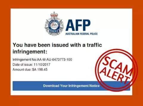 High Alert – New AFP traffic infringement scam