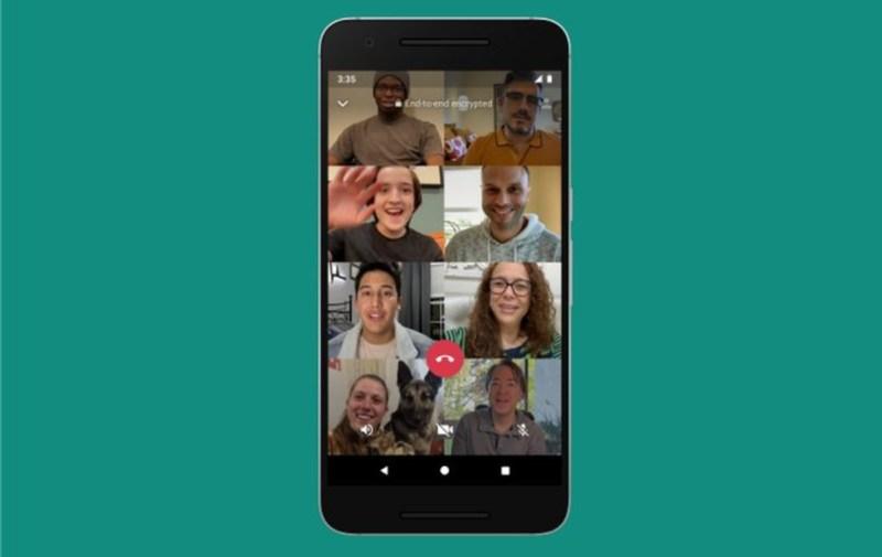 Tampilan video call whatsapp yang kini bisa sampai 8 peserta
