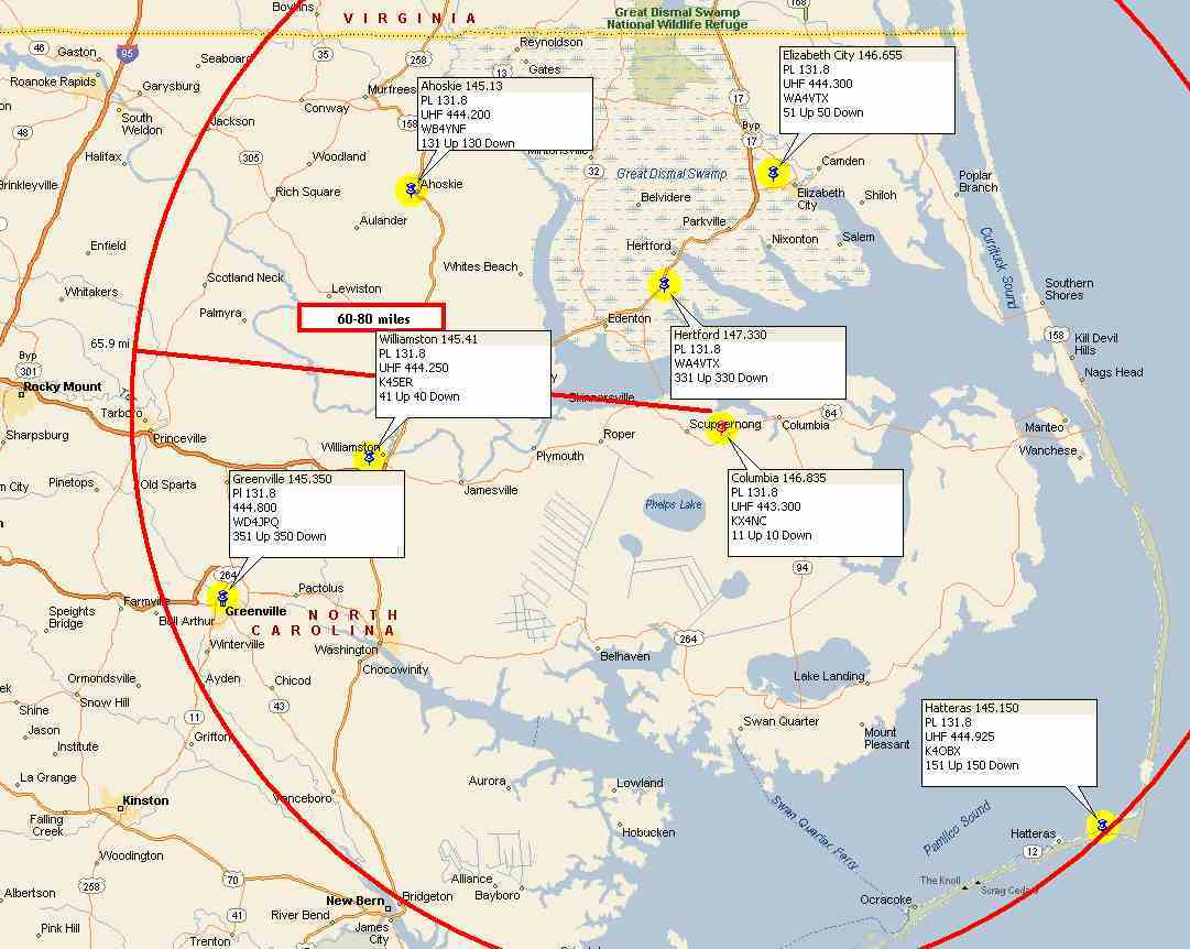 System Links Pitt County Repeater Association