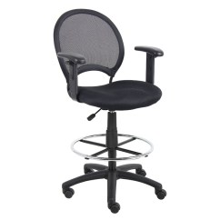 Drafting Chairs With Arms Fishing Chair Bag Boss Mesh Back Stool Adjustable Black Pcrichard Com B16216