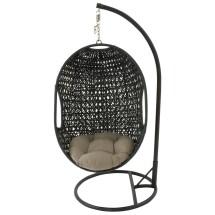 Hanging Egg Chair Swing - Black Sage Outdoor Rattan Wicker