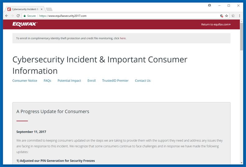 Equifax Security Website 2017