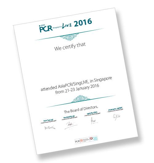 AsiaPCR/SingLIVE 2016: Certificate of attendance