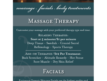 Print Product Spa Treatment Menu Card