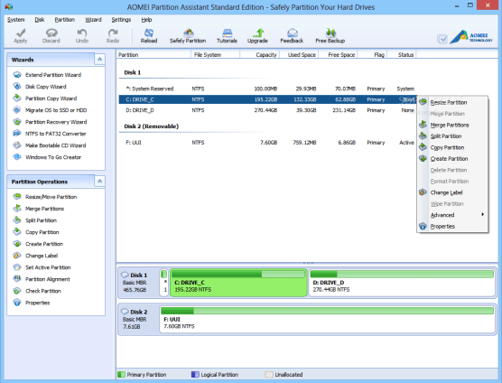 AOMEI Partition Assistant Standard Edition windows