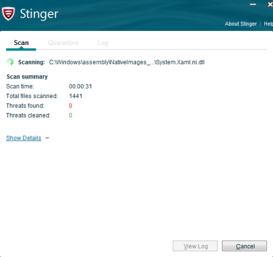 McAfee Stinger latset version