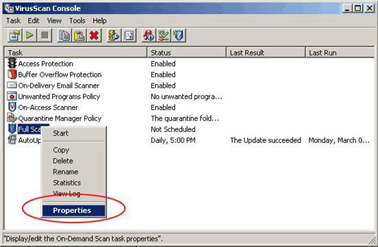 McAfee VirusScan Enterprise windows