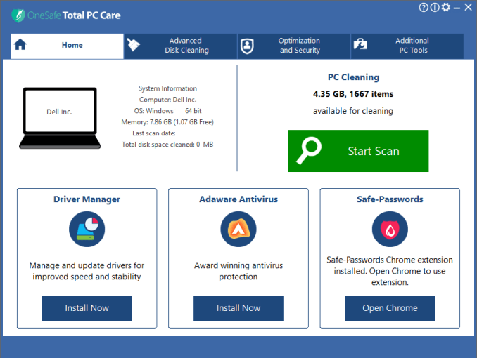 OneSafe Total PC Care windows
