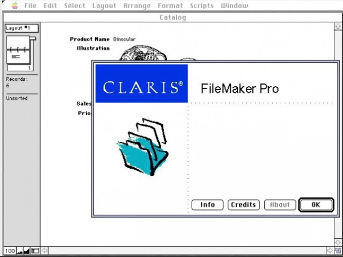 Claris FileMaker Pro windows