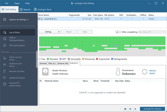 Auslogics Disk Defrag Professional windows