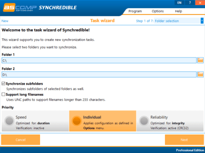 Synchredible Professional windows