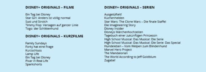 Zu sehen ist eine Auflistung der Filme und Serien von Disney+ Originals, die beim Disney Plus Deutschland Start dabei sind. Bild: Collage PC-SPEZIALIST / Quelle Disney