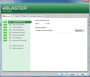 eBlaster Settings screen