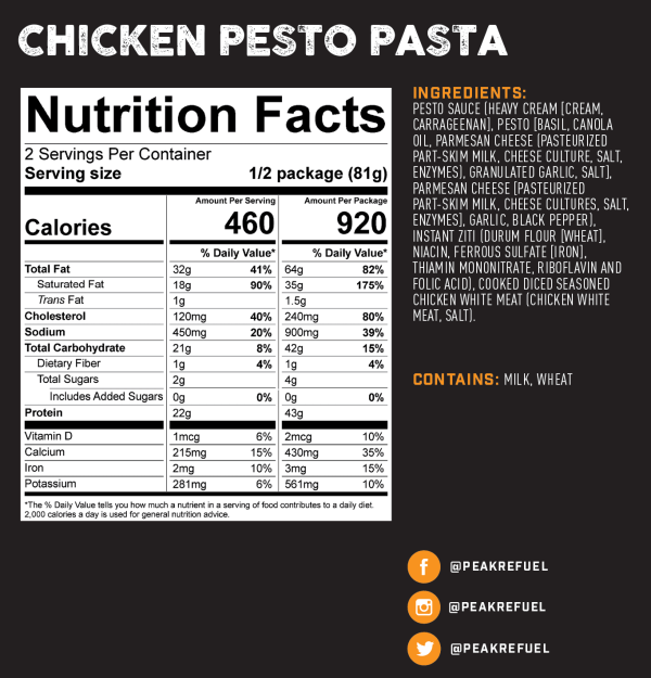 Chicken pesto pasta backpacking meal