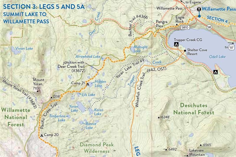 PCT Camp Map - PCT: Oregon