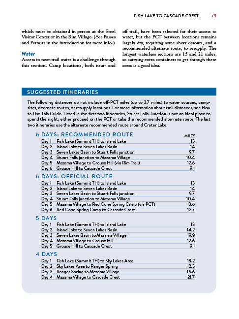 itinerary page