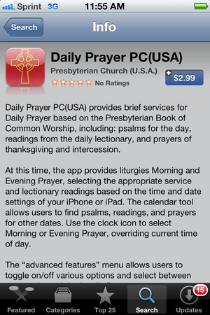 Screen shot of P:C(USA) daily prayer app on iPhone