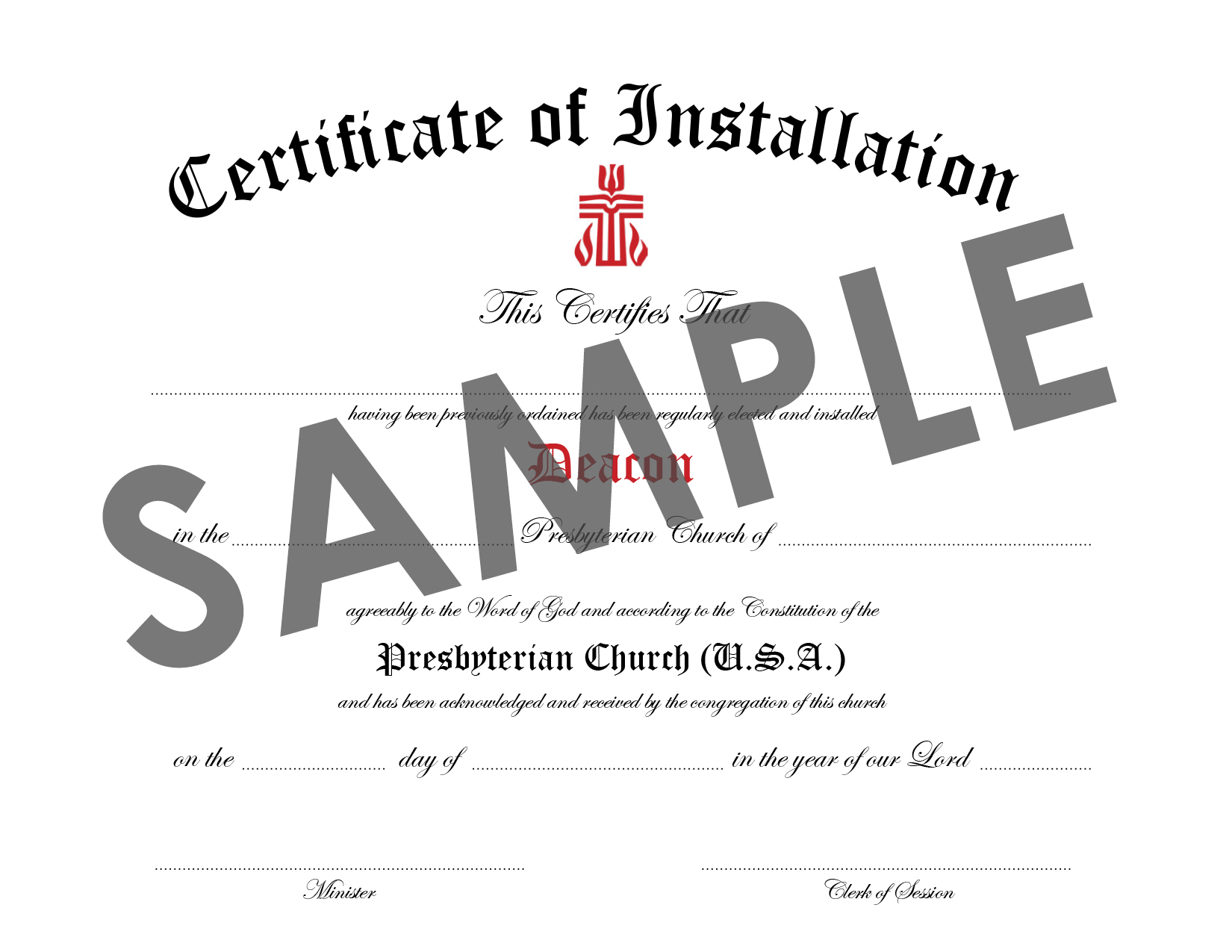 Certificate of Installation of Deacon Download : PC USA Store