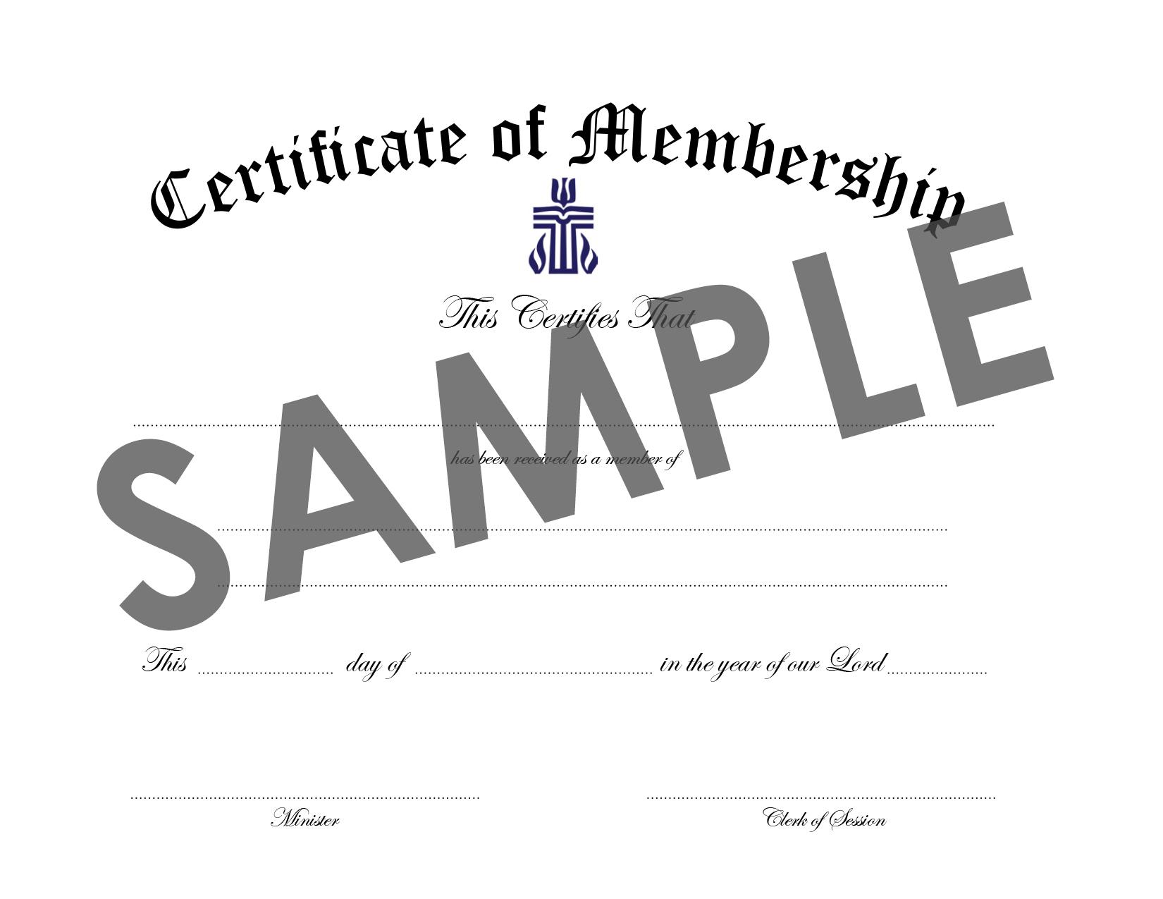 Certificate of Membership Download : PC USA Store