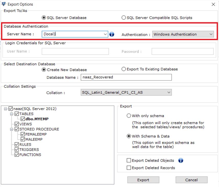 выберите имя сервера и режим аутентификации