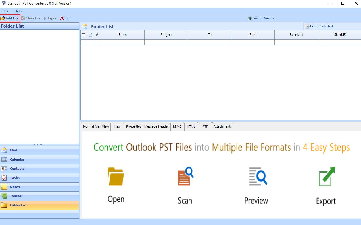 добавить файлы Outlook PST
