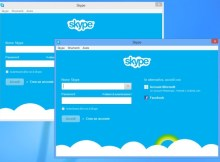 in questa immagine sono presenti due diverse schermate per effettuare il login su skype